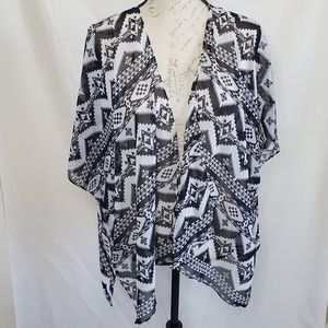 Charming Charlie sheer tribal print shawl sz S